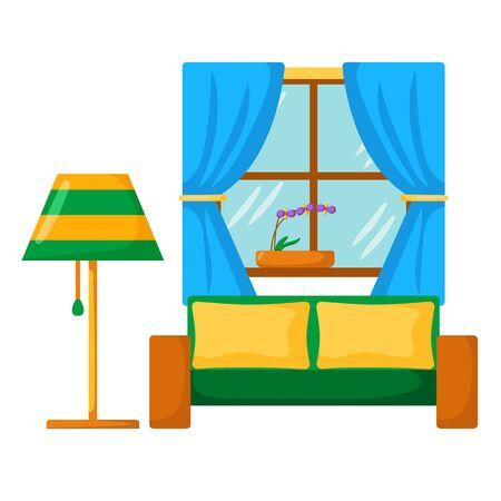 lamp window: Vector sofa interior. Cartoon living room interior with sofa, lamp, window. Vector illustration with front view sofa interior. Home relaxing. Isolated sofa interior. Cartoon furniture, indoor design