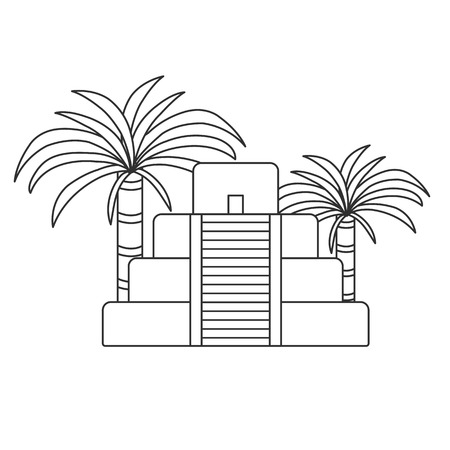 itza: Vector outline illustration with aztec pyramid and palms. Old aztec, mayan civilization concept. Mexico, latin america travel. Aztec culture and heritage. Mexico tourism vector background