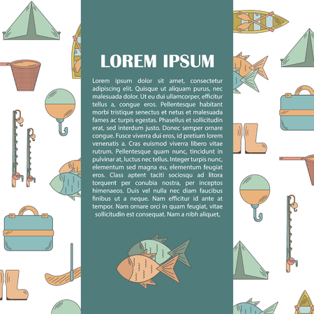textspace: Vector illustration with fishing infographics. Line fishing equipment. Vector background for fishing infographics with textspace. Fishing card or poster. Outdoor hobby fishing infographics