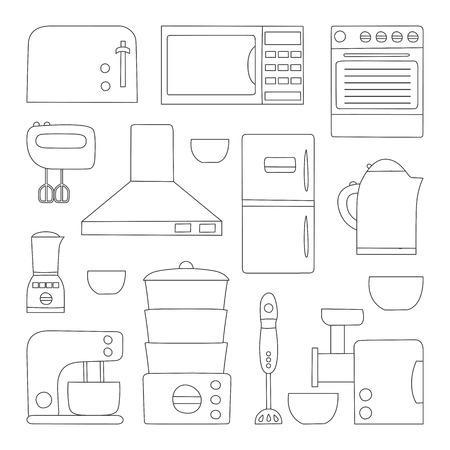KITCHEN APPLIANCES: Vector line kitchen appliances icon. Simple flat style of kitchen interior design. Apartment kitchen appliances object. Indoor kitchen design: miser, blender, steamer, toaster and other appliances