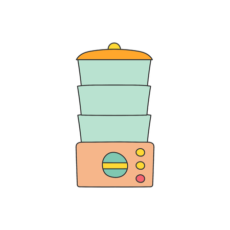 preservation: Isolated cartoon line kitchen steamer on white background. Kitchen home appliances concept. Healthy food concept. Vitamins preservation in kitchen steamer. Vector kitchen appliances for healthy food Illustration