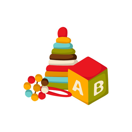 beanbag: Vector background with newborn or children toys: cube with alphabet, beanbag, pyramid in cute cartoon style. Newborn goods concept. Pattern for children book or package design. Newborn background Illustration