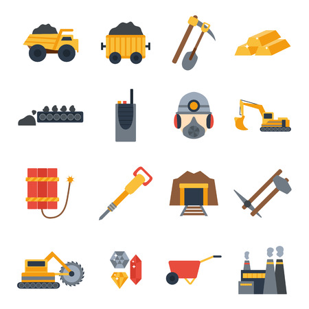 metallurgy: Vector illustration with mining icons. Cute cartoon mining objects. Industrial mining equipment, metallurgy factory. Coal mining icons. Mineral, diamond, gold factory. Mining tools and machinery