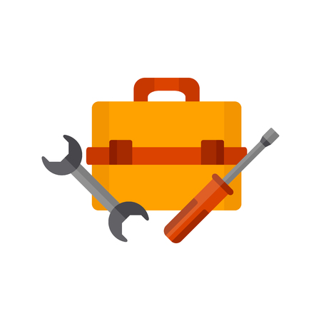 Vector illustration with cartoon screwdriver, wrench and toolbox. Repair tools background. Vector illustration with toolkit objects. Isolated repair tools logo on white background. Illustration
