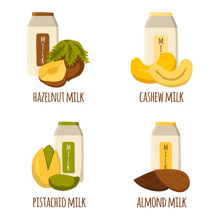 soy free: Vector cartoon illustration with nuts milk: almond milk, pistachio milk, cashew milk, hazelnut milk. Lactose free diary products. Vegan source of protein and calcium. Vegan menu. Alternative for milk