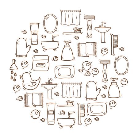 bathroom duck: Vector illustration with hand drawn cartoon bathroom background. Circle background with bathroom soap, bathroom cosmetics, bathroom duck, bathroom towel, mirror, brush. Cartoon cute bathroom concept Illustration