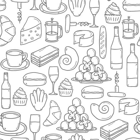 french cuisine: Seamless background with cartoon cute hand drawn objects on french cuisine theme: cheese, wine, macaroon, criossant, pastry. Ethnic travel concept. Great for restaurant menu or food site