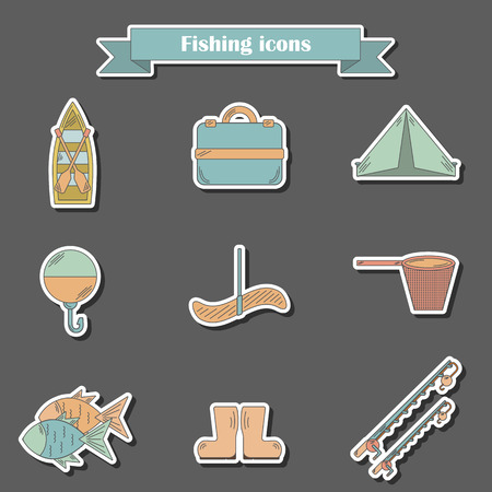 fishing boats: Set of simple line flat fishing icons