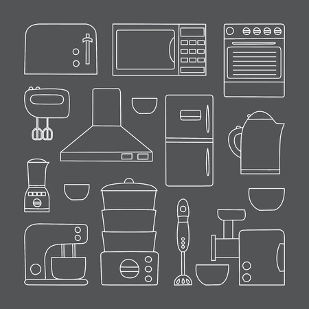 kitchen appliances: Vector line kitchen appliances icon. Simple flat style of kitchen interior design. Apartment kitchen appliances object. Indoor kitchen design: miser, blender, steamer, toaster and other appliances
