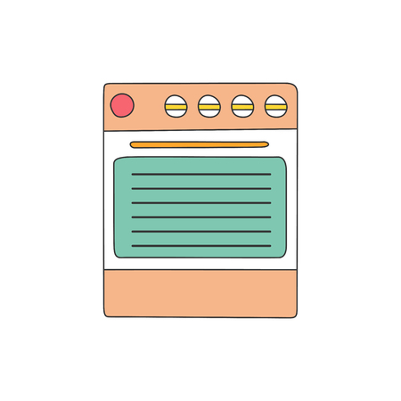 modern kitchen: Vector illustration with isolated flat line kitchen stove on white background. Home kitchen appliance. Indoor line kitchen design. Cooking equipment concept. Modern kitchen line object. Vector stove