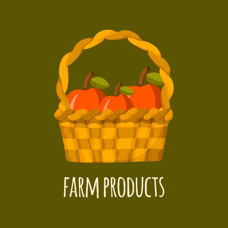 healthy snack: Apple basket vector. Cartoon farm production. Organic fresh farm products. Healthy snack. Organic market store concept. Apple basket vector illustration in cartoon style. Green organic farm products