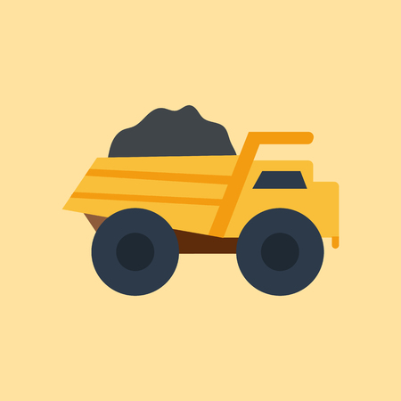 iron ore: Vector illustration with isolated industrial truck on white background. Mining industry concept. Vector truck with coal. Pattern for cartoon toy design. Industrial mining technology. Mining transport Illustration