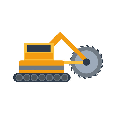Vector illustration with cartoon flat mining drill machine. Mining equipment. Isolated flat drilling industrial technology. Vector background for industrial mining drilling technology. Heavy equipment  イラスト・ベクター素材