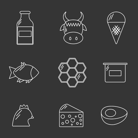 lactose intolerant: Vector icons with food prohibited for vegans. Healthy lifestyle. Go vegan concept. Vegan rules for health. Outline objects with prohibited sign: meat, dairy products, fish, poultry, eggs, honey