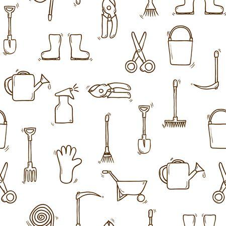 carretilla de mano: De fondo sin fisuras, la mano de dibujos animados dibuja objetos temáticos jardín. concepto al aire libre, herramientas de objetos: regadera, guantes, cortador, tridente, pala, botas, rastrillo, tijeras de podar, carretilla de mano, cubo, la manguera del rociador