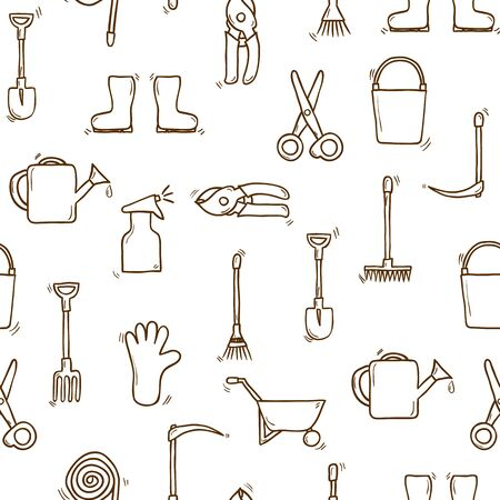 pushcart: Seamless background, cartoon hand drawn garden theme objects. Outdoor concept, tools objects: watering can, gloves, cutter, pitchfork, shovel, boots, rake, secateurs, pushcart, bucket, hose, sprayer