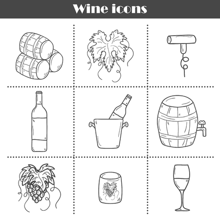 Set of cartoon wine icons in hand drawn style: bottle, glass, barrel, grapes, corkscrew. Vineyard or restaurant concept for your design