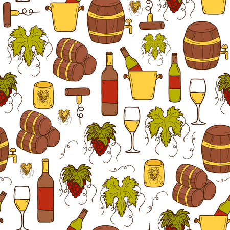 rape: Vineyard or restaurant concept with cartoon wine objects in hand drawn style and seamless background: bottle, glass, barrel, grapes for your design