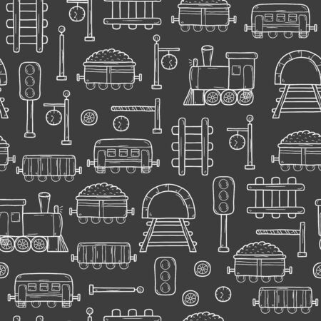 railway station: Seamless background with hand drawn railroad objects: wagons, semaphore, railway station clock, locomotive, barrier, tunnel. Transport shipping delivery or travel concept for your design
