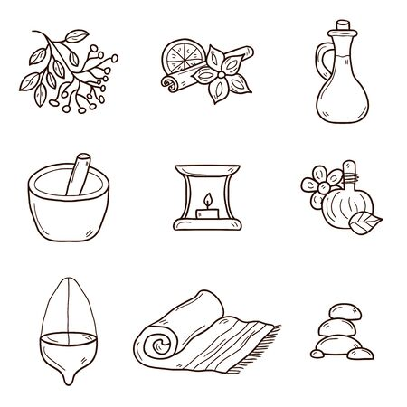 ayurveda: Cartoon hand drawn illustration with ayurveda icons. Healthcare, ayurveda treatment concept. Cartoon objects on ayurveda medicine theme. Alternative medicine. Spa center, aromatherapy relaxation