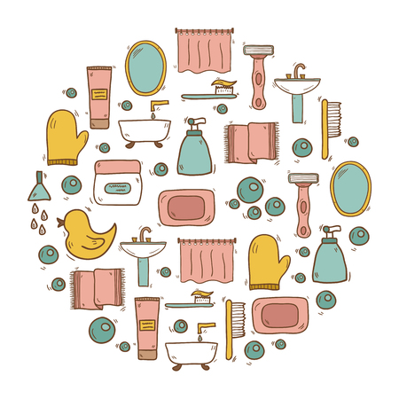 bathroom duck: Illustration with hand drawn cartoon bathroom background. Circle background with bathroom soap, bathroom cosmetics, bathroom duck, bathroom towel, mirror, brush. Cartoon cute bathroom concept