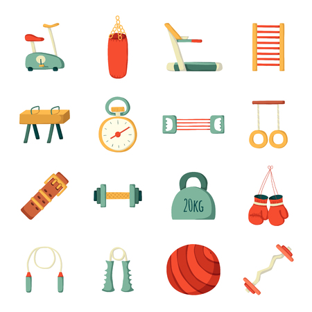 gym equipment: Set of vector cartoon gym icons. Sport healthy life concept. Fitness equipment design. Sport gym cartoon vector objects. Indoor gym equipment. Fitness activity concept. Cartoon fitness club equipment Stock Photo
