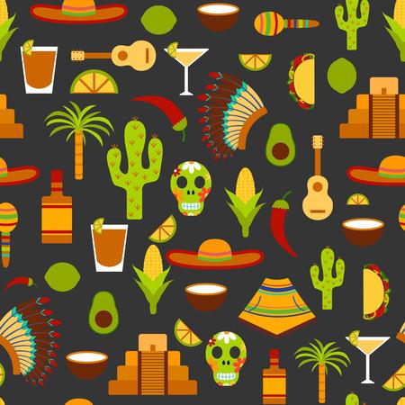 latinoamerica: Illustration with flat Mexico travel background. Cartoon Mexico objects. Latin America and Mexico travel: palm tree, tequila, Mexico pyramid, sombrero, native american hat, guitar, avocado Stock Photo