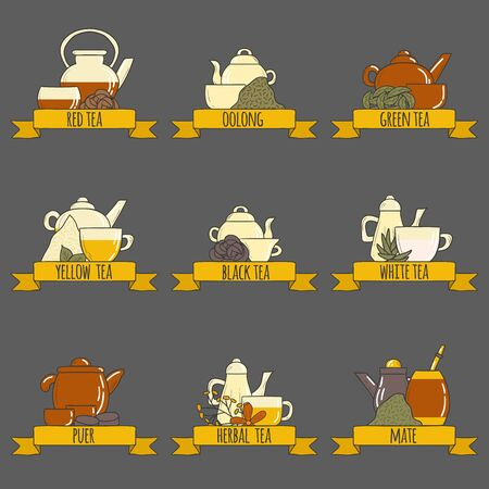 Tea ceremony vector set with teapots and cups in cartoon hand drawn style. Kinds of tea: green, red, yellow, puer, black. Vector chinese asian culture concept. Logo or card design for tea ceremony