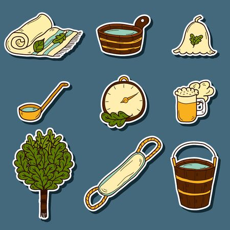 wisp: Set of hand drawn cartoon sauna icons: broom, towel, hat, wisp, beer, steam. Relaxation, health care or treatment concept for your design