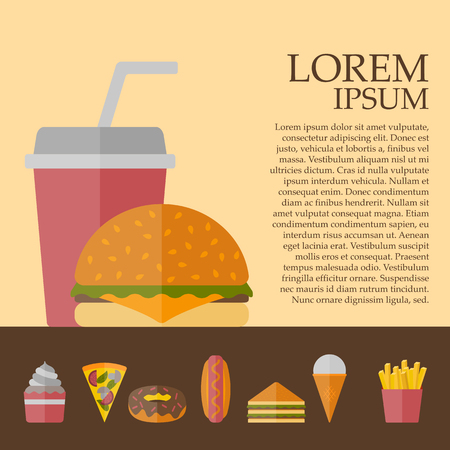american cuisine: Vector american fast food concept with cartoon flat objects: fried potato, hot dog, soda, hamburger, sandwich for your design. American cuisine concept. Junk unhealthy food. Banner or card design Stock Photo