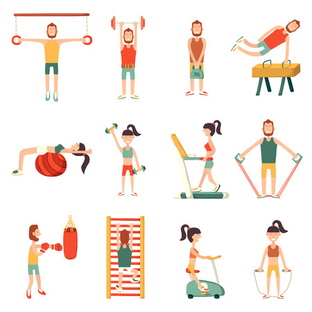 gym equipment: Vector illustration with cartoon characters and gym equipment. Vector indoor activity lifestyle. Cartoon fitness objects. People do exercise. Vector man and woman with cartoon sport equipment