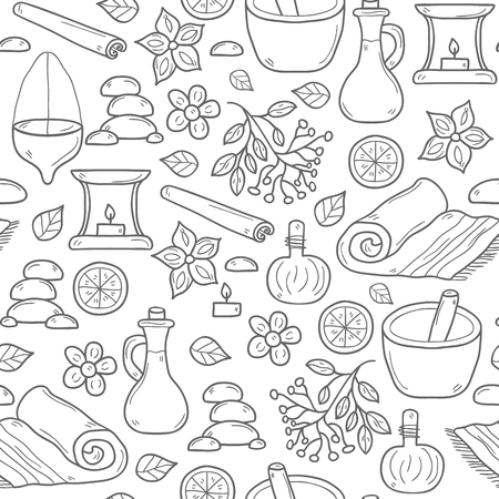 alternative medicine: Ayurveda healthcare and treatment concept with seamless background in cartoon hand drawn style: herbs, stones, oil, spices, aromatherapy, towel. Spa relax concept. Alternative ayurvedic medicine Stock Photo