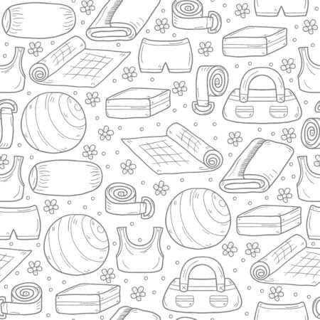 sports wear: Illustration with cartoon hand drawn yoga equipment background: yoga mat, ball, towel, yoga brick, sports wear. Healthy lifestyle. Active sport life, yoga equipment objects. Cartoon sport objects