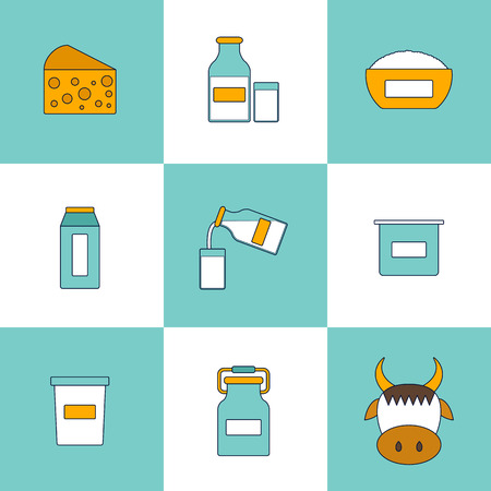 intolerance: Illustration with dairy milk products. Lactose intolerance concept. Cute line style. Healthy dairy calcium milk products. Fresh farm milk concept. Lactose allergen products illustration