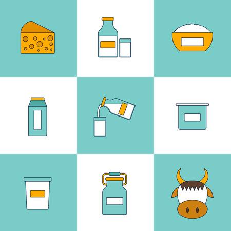 intolerancia: Ilustración con los productos lácteos productos lácteos. concepto de intolerancia a la lactosa. lindo estilo de línea. lácteos sanos productos lácteos de calcio. concepto fresco leche de granja. La lactosa productos alergénicos ilustración Foto de archivo