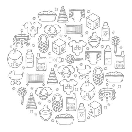 Cartoon-Illustration mit Hintergrund mit Objekten in Hand gezeichnet Stil auf Babypflege Thema: Nippel, Rassel, Block, Wagen, Bett, Windel für Ihr Design