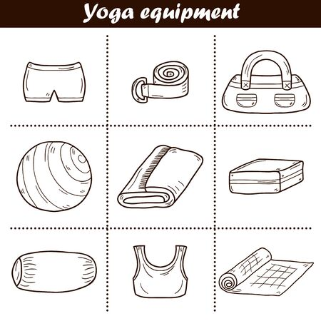 yoga mat: Illustration with cartoon hand drawn yoga equipment: yoga mat, belt, ball, towel, yoga brick, sports wear. Healthy lifestyle. Active sport life with yoga equipment objects. Cartoon indoor sport object
