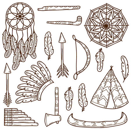 wigwam: Set of cartoon hand drawn stickers on native american theme: tomahawk, feather, canoe, bow, arrow, hat, mandala, flute, pipe, dreamcatcher. Native american concept for your design