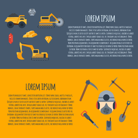 mining equipment: Vector background with mining icons. Cute cartoon mining objects. Industrial mining equipment, metallurgy factory. Coal mining icons. Mineral, diamond, gold factory. Mining tools and machinery Illustration