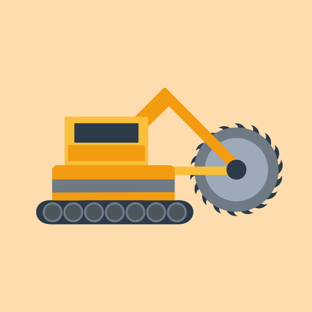 heavy equipment: Vector illustration with cartoon flat mining drill machine. Mining equipment. Isolated flat drilling industrial technology. Vector background for industrial mining drilling technology. Heavy equipment Illustration