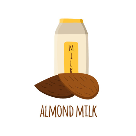 soy free: Vector illustration with almond milk. Lactose free vector concept. Alternative source of protein for vegans. Cartoon package of almond milk with almond nuts. Healthy diet food concept. Almond milk