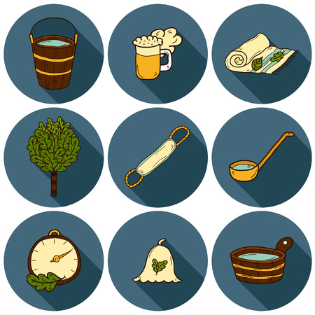 finnish bath: Set of hand drawn sauna icons: broom, towel, hat, wisp, beer, steam. Relaxation, health care or treatment concept for your design