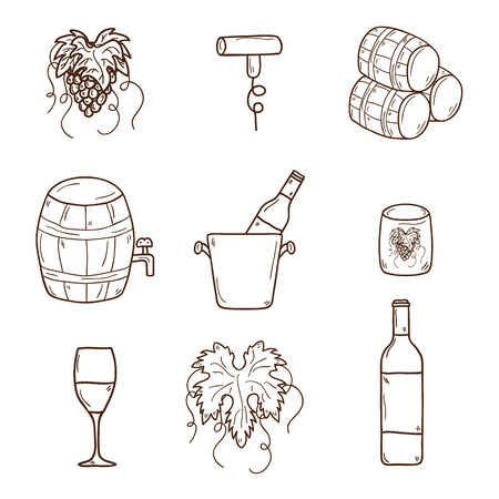 viticulture: Set of cartoon wine icons in hand drawn style: bottle, glass, barrel, grapes, corkscrew. Vineyard or restaurnt concept for your design