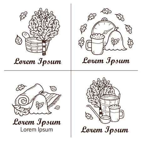wisp: Relaxation, health care or treatment concept for your design with hand drawn sauna icons: broom, towel, hat, wisp, beer, steam