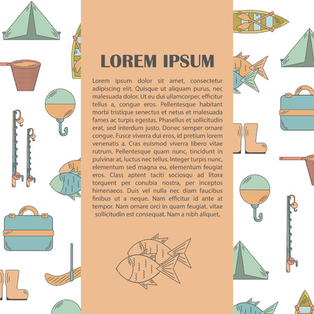 textspace: Vector illustration with fishing infographics. Line fisherman equipment. Vector pattern for fish infographic, card or posters with textspace. Outdoor nature hobby design
