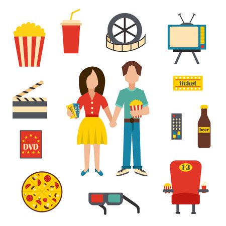 blockbuster: Vector illustration with cartoon objects on cinema time theme. Vector characters, popcorn, soda, pizza, 3d glasses, beer, cinema chair. Cartoon concept for cinema time or movie design Illustration
