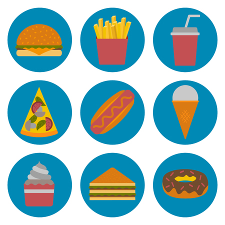 american cuisine: Vector american fast food concept with cartoon flat objects: fried potato, hot dog, soda, hamburger, sandwich for your design. American cuisine concept. Junk unhealthy food. Vector fast food icons
