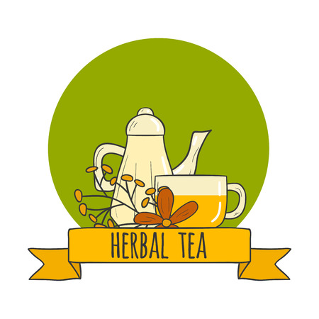 chamomile tea: Vector illustration with cartoon hand drawn herbal teapot and cup. Vector concept for tea ceremony cartoon. Traditional hot beverage for relaxation. Chamomile green tea Illustration