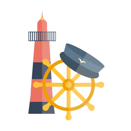 captain hat: Vector illustration with flat cartoon lighthouse, captain hat, ship wheel. Cartoon background for cruise company design or travel vacation. Nautical yachting illustration. Flat cruise design Illustration