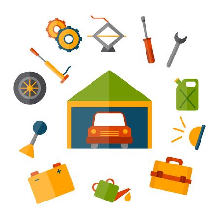 rehab: Vector car repair icon. Cartoon cute objects for car service or garage concept. Equipment, tools, objects for repair work. Vector cartoon automobile rehab illustration